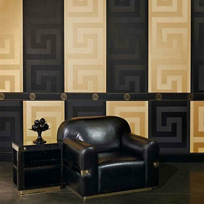 Versace Wallpaper & Border Gold Black Luxury Satin Modern Designer Greek Key