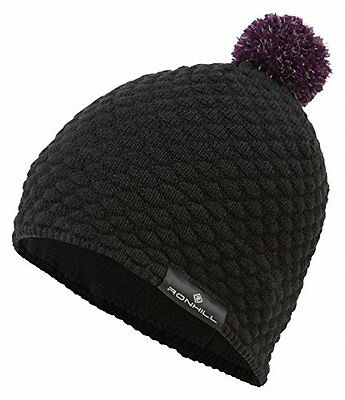 100042 Ronhill Runners Vizion Thermal Bobble Hat - Black/Berry