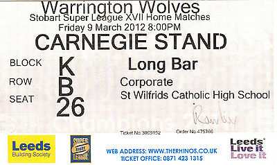 Ticket - Leeds Rhinos v Warrington Wolves 09.03.2012