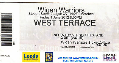 Ticket - Leeds Rhinos v Wigan Warriors 01.06.2012