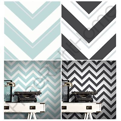 Rasch Chevron Wallpaper Pale Teal And Black White - 10M Wall Decor Feature Wall