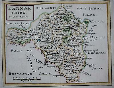 WALES  RADNORSHIRE RADNOR  BY ROBERT MORDEN GENUINE ANTIQUE MAP c1704