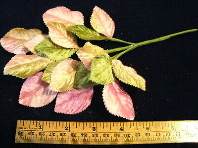 Millinery Flower Velvet Leaf 18pc Lot Pink Green for Hat or Hair and Wedding K16