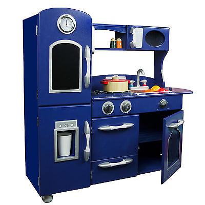 Teamson Kids Wooden Play Kitchen Set Navy Blue