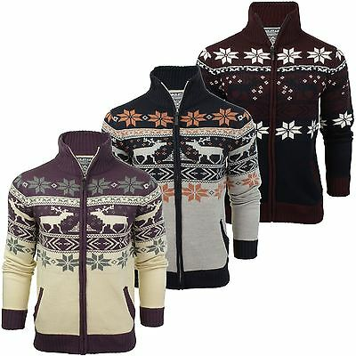 Mens Christmas/ Xmas Zip Up Cardigan Jumper by Soul Star
