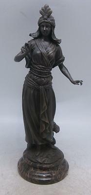 Bronze Sculpture - Classical Lady - Solid Marble Base - Signed after 'Carrier'