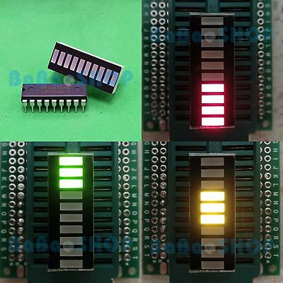 Tri-Color Fixed 10-Segments LED Bargraph GYR + LM3914 LED Display Driver