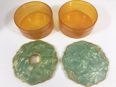 Dresser Set Art Deco Vintage 2 pc Celluloid Powder Box Hair Receiver Green Amber
