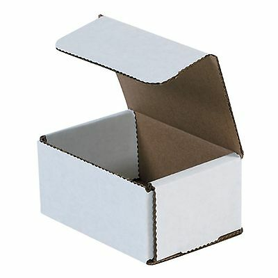 "50 Pack 4x3x2 MAILERS White Corrugated Cardboard Shipping Boxes 4""x3""x2"" NEW USA"