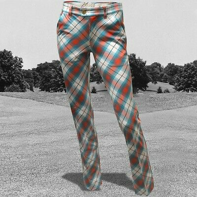 Royal & Awesome Trendy Funky Golf Trousers Plaid Awesome Tartan 10,12 Blue / Red