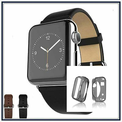 Black Luxury Leather Band Strap Bracelet Classic Buckle Apple Watch 38mm Case x1