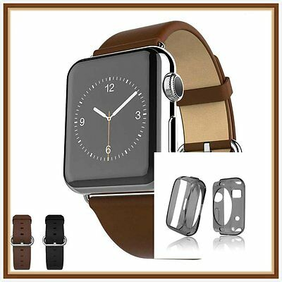 Brown Luxury Leather Band Strap Bracelet Classic Buckle Apple Watch 42mm Case  1