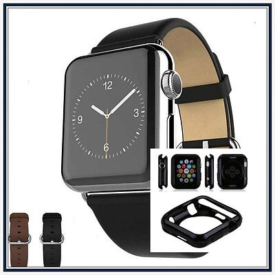 Black Luxury Leather Watch Band Strap Bracelet Buckle Apple 38mm Black Case x 1