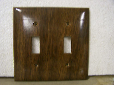 Vintage Double Switch Cover Plate Sierra Electric Walnut Wood Tone Made in USA