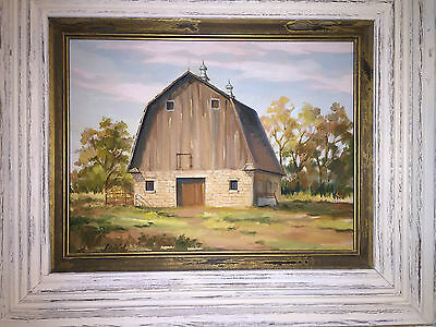 BRISTOL--Early American Farm House Landscape Oil Painting Signed Bristol