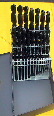 Machinists 29 PC USA Black Drill Bit Set. 1/16 to 1/2 by 64s,   Huot Case.