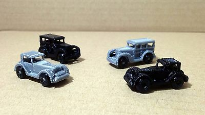 Outland Models Railway Scenery Vintage / Classic Auto Car (4pcs) Set Z Scale