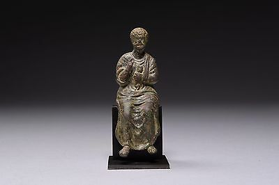 Ancient Medieval Bronze Figure of Christian Saint Peter - 1300 AD