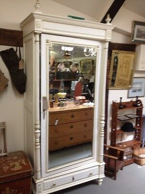 Wonderful French Armoire White Painted Mirror Door