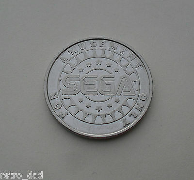 SEGA For Amusement Only RARE OLD MINT Video Game Arcade METAL COIN TOKEN Gaming