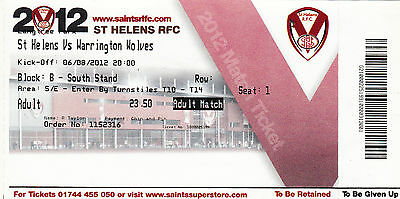 Ticket - St Helens v Warrington Wolves 06.08.2012