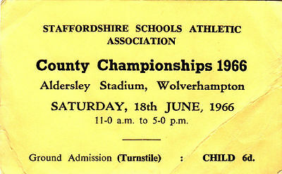 Ticket - Stafforshire Schools Athletic Association County Championships 1966