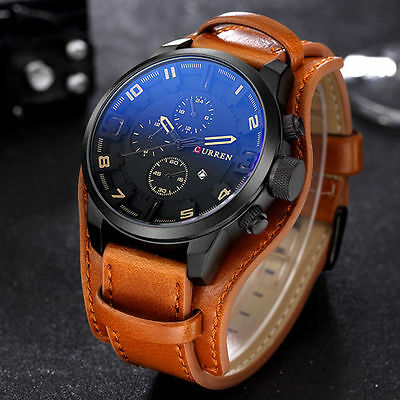 Fashion Curren Men's Date Brown Leather Black Analog Quartz Sport Wrist Watch