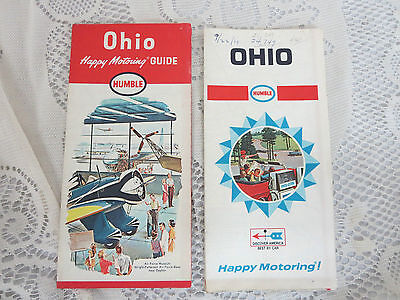 1964 & 1968 Ohio State Road Maps Humble Oil Motoring Guides