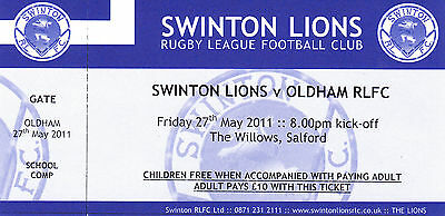 Ticket - Swinton v Oldham 27.05.11