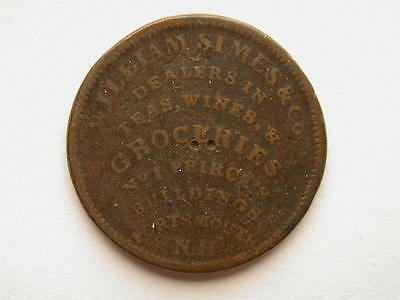 US 1837 Portsmouth NH Hard Times Token Holed