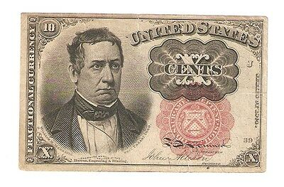 US 1874 10 Cents Fifth Issue Small Tear Top Center