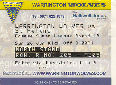 Ticket - Warrington Wolves v St Helens 26.06.2011