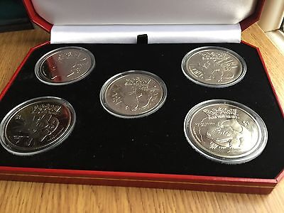 2001 Niue $1 Pokemon 5 Coin Set Pikachu Squirtle etc Pobjoy Mint Very Very Rare