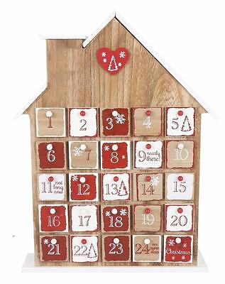 Freestanding Natural Wooden House Christmas Advent Calendar And Drawers XMR0702