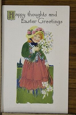 """ANTIQUE 1910's EASTER POSTCARD """"Young Girl In Meadow"""" Unposted"""