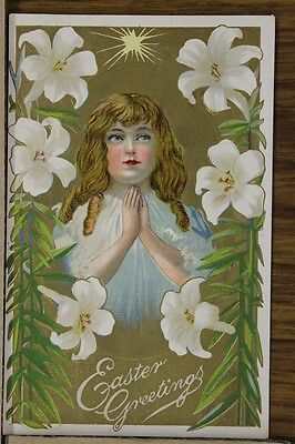 """ANTIQUE 1910's EASTER POSTCARD """"Young Girl Praying Underneath Star"""" Unposted"""
