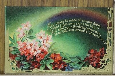"""ANTIQUE 1910's BIRTHDAY POSTCARD """"Blossoms & Blue Skies Poem"""" Unposted"""