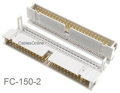2-Pack 50-Pin (2x25) Male IDC Flat Ribbon Cable Box Header Connectors, FC-150-2
