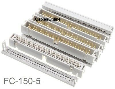5-Pack 50-Pin (2x25) Male IDC Flat Ribbon Cable Box Header Connectors, FC-150-5