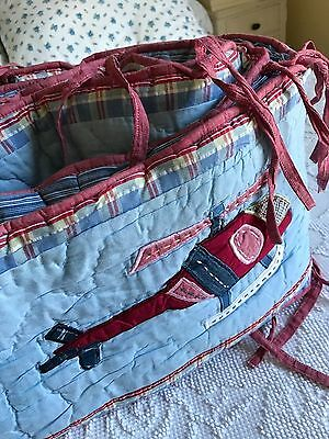 Pottery Barn Kids HELICOPTERS Crib Bumper Pad 100% Cotton