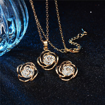Gold/Silver Rose Flower Pendant Necklace Rhinestone Earrings Wedding Jewelry Set