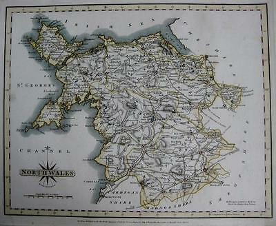 NORTH WALES   BY JOHN CARY GENUINE ANTIQUE MAP  c1793