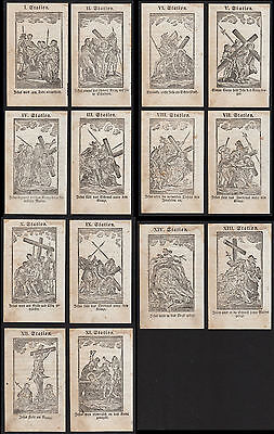 Kreuzweg Holschnitte 18.Jh. Via Crucis Way of Cross Holy Cards