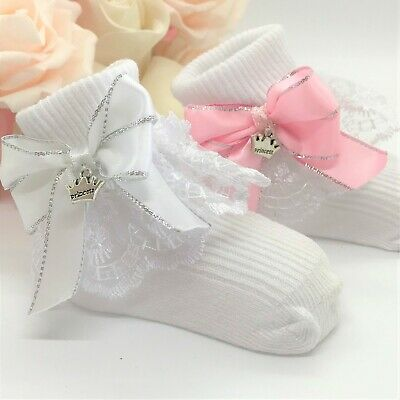 Infant Girls Baby Reborn White Pink Organza Lacy Frilly Socks Various Sizes