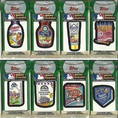 (8) 2016 Topps MLB Wacky Packages Trading Sticker Cards Jumbo/Fat Pack LOT