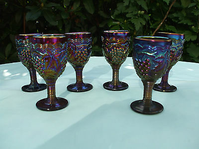 Carnival Glass Electric Purple Imperial Grape Wine Glasses.6 Available.Ex.Cond.