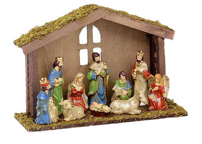 Nativity Figurine Set with Wooden Shelter (10 pce)  NEW   27163