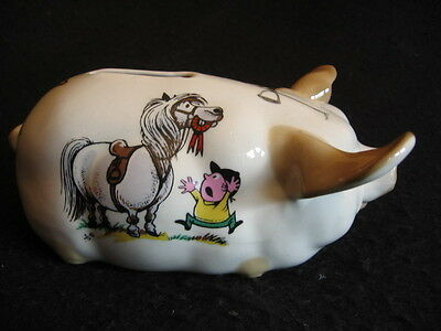 CERAMIC PIGGY BANK Norman Thewall Equestrian themed EX