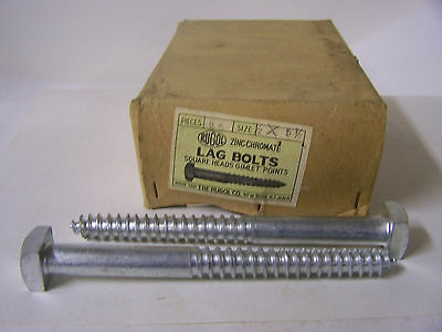 "1/2"" x 5 1/2"" Square Head Lag Bolts Zinc Chromate Vintage NOS Qty 25"