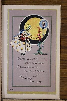 """ANTIQUE 1910's EASTER POSTCARD """"Young Lady Picking Flowers"""" Unposted"""
